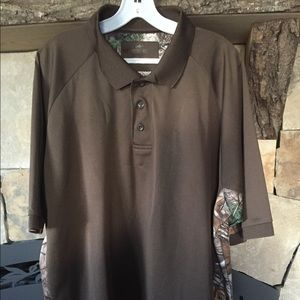 Men's Brown polo with camo sides